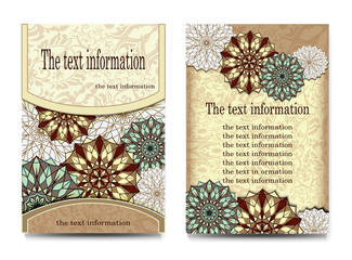 Flyer, cover, brochure, abstract, brochure A4, text, frame, motifs, floral, ornaments and mandalas. Floral vector Oriental design flyer mockup template front and back sides. Easy to use and edit