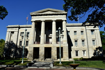 Raleigh, North Carolina - April 18, 2016:  The east front of the c. 1840 North Carolina State House with its neo-classical portico, columns, and pediment
