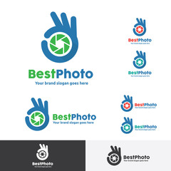 Best Photo Shoot Logo, OK Hand Gesture with Camera shutter