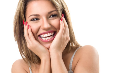 Woman with beautiful teeth laughing