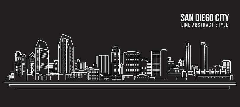 Cityscape Building Line art Vector Illustration design - San Diego city