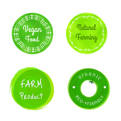 Set of green organic farming badges