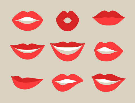 Female lips set. Mouths with red lipstick in variety of expressions. Objects for decoration, design on advertising booklets, banners, flayers