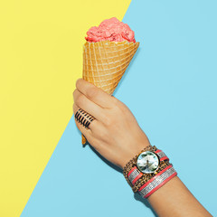 Stylish Vanilla Summer. Fashionable accessories. Rings, watches