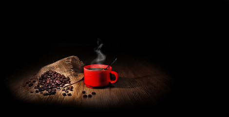 Aluminium Prints Coffee beans grains de café avec une tasse rouge
