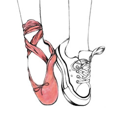 Foot wear pink ballet shoes and white sneakers. Hand drawn illustration. Line art of lifestyle and hobbies. Sketch pointing shoes.