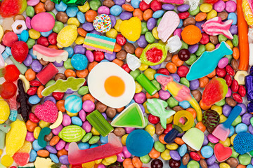 colorful tasty sweets candy background / bunter süßwaren süßigkeiten hintergrund