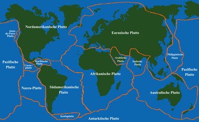 Plate tectonics - world map with fault lines of major an minor plates. GERMAN LABELING! Vector illustration.
