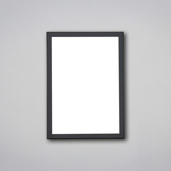 Blank of wooden photo frame isolated on grey