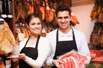 young sellers offer ham