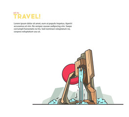 Travel illustrations. Mountains and waterfall. Modern outline vector.