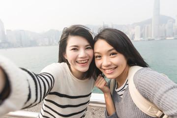 Asian young girls take a selfie