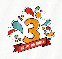 Colorful happy birthday number 3 flat line design