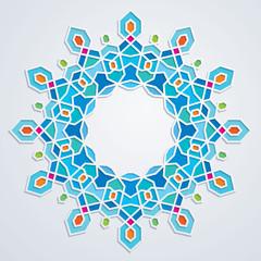 Arabic geometric pattern design colorful mosaic