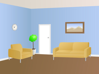 Waiting room interior blue beige armchair sofa illustration vector