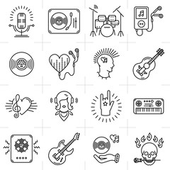 Thin lines music icons set. Rock music band, punk rocker, Heavy rock icon, Skull icon, Notes, instruments, guitar, dj. Vector music illustration