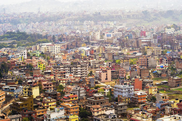 Aerial view of Kathmandu city, Nepal.