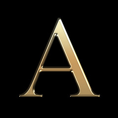 Golden matte letter A, jewellery font collection.