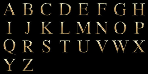 Golden matte letter A-Z, jewellery font collection.