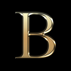 Golden matte letter B, jewellery font collection.