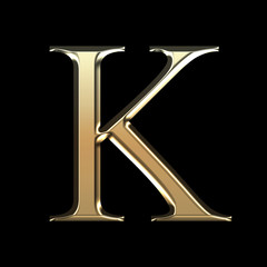 Golden matte letter K, jewellery font collection.