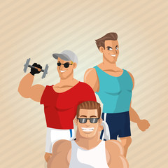 Healthy lifestyle. cartoon man design.  bodybuilding concept