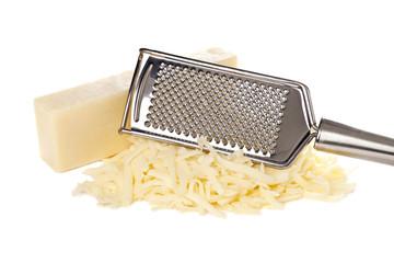 grated bar of mozzarella cheese