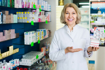 Female customer in pharmacy store  .