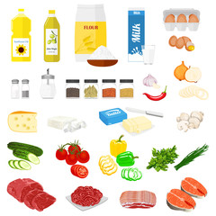 Set of pictures of the food for cooking and the recipes. Vector colorful illustration in flat style.