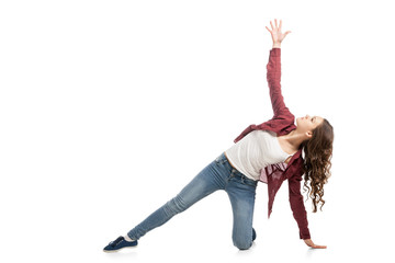Young girl dancing over white background
