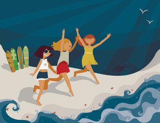 Horizontal bright illustration with young girls going to the sea. Vector image, with surf boards, sea, fun and happy girls. Blue sun, shadows and starfish on sand. Girls running with hands up, smiling