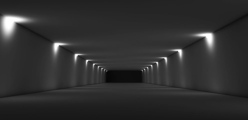 Abstract long dark empty tunnel interior 3d
