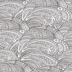 Seamless pattern of hand-drawn abstract elements. Monochrome gamma .