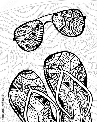 hand drawn zentangle of flip flops at the beach for coloring book - Zentangle Coloring Book