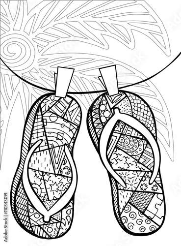 quot Hand drawn zentangle of flip flops
