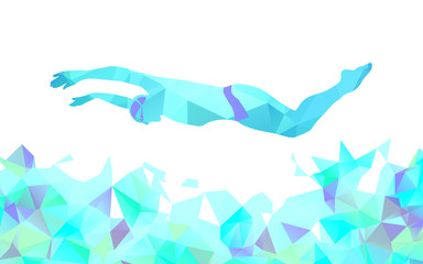 Butterfly Swimmer Color Silhouette. Sport swimming