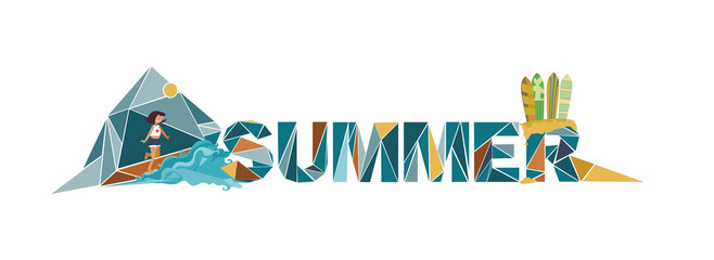 Summer lettering on white background, dedicated to vacation, holidays and sea, with surf boards, sand and girl who jumps to the sea. Letters based on triangles graphic. Branding vector illustration.