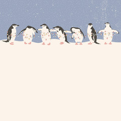 Christmas card with penguins holding string of lights. Season's greetings vector card.