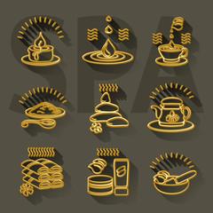 Outline  set spa theme icons on dark  background.