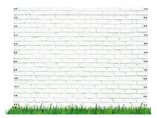 white brick wall with grass isolated