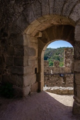 Bailey entrance of the Templar Castle of Almourol. One of the most famous castles in Portugal. Built on a rocky island in the middle of Tagus river.
