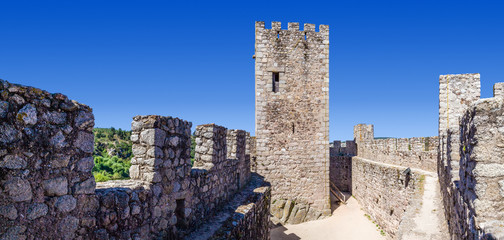 Keep and bailey of the Templar Castle of Almourol. One of the most famous castles in Portugal. Built on a rocky island in the middle of Tagus river.