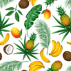 Seamless pattern with tropical fruits and leaves. Background made without clipping mask. Easy to use for backdrop, textile, wrapping paper