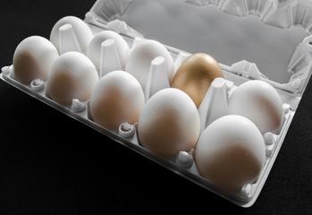 One golden egg among white eggs