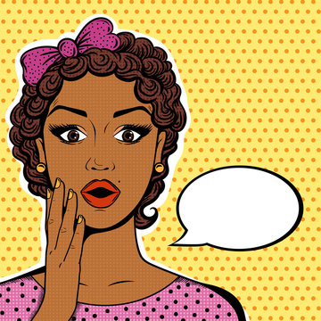 Vector African American woman portrait - shocked face with open mouth, short curly brown hair, speech bubble in pop art retro comic style.