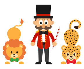 circus man and circus lion and leopard