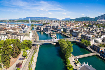 Aerial view of Leman lake -  Geneva city in Switzerland Wall mural