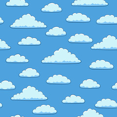 Seamless pattern. Clouds in the blue sky. Vector illustration.
