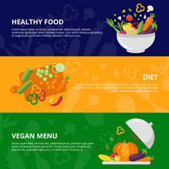 Vegetables Flat Isolated Banner Set