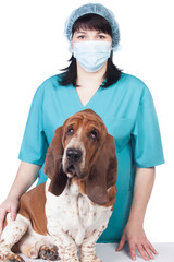 Female vet with a dog